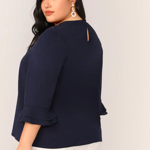 SHEIN Tops - SHEIN Navy Lace Insert Layered Sleeve Top 3X